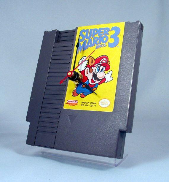 VINTAGE Nintendo Super Mario 3 Cartridge Clock 1985 by GeekGear