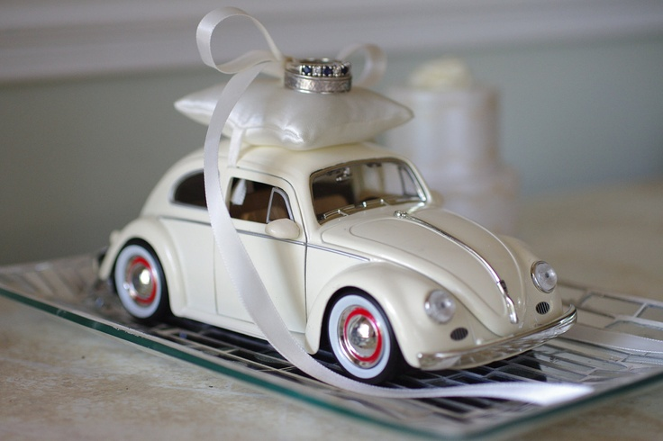 Wedding Ivory Volkswagon Bug Toy Car Ring Bearer Pillow - Ivory or Blue. $54.00, via Etsy.