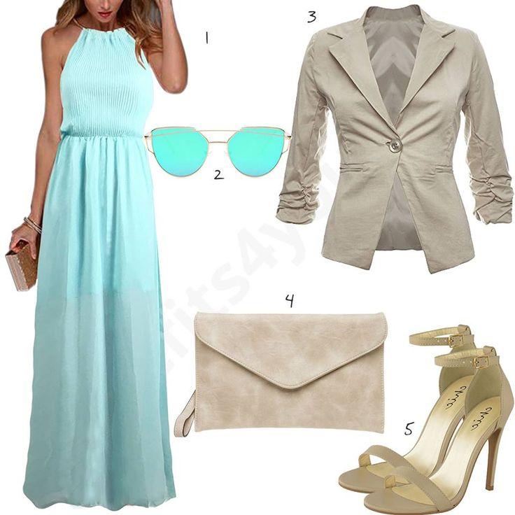 Eleganter Damen-Stil in Türkis und Beige (w0402) #outfit #style #fashion #inspiration #womenswear #womensoutfit #womenwear #womensstyle #damenmode #frauenmode #mode #styling #schuhe #sneaker #dress #summerstyle