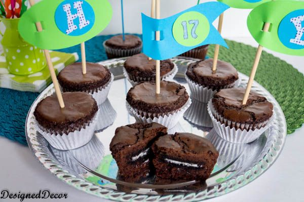Oreo Brownie Cupcakes- http://www.designeddecor.com