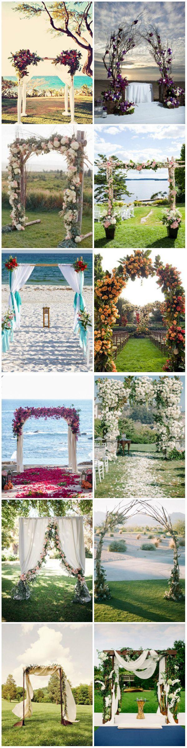 Unique wedding arch decoration ideas for indoor or outdoor weddings.