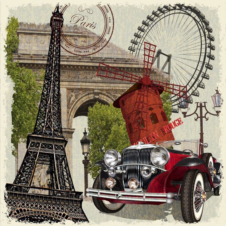 Decoupage vintage retro car travel design,Dekupaj,canvas tablo için arabalı seyahat posterleri,