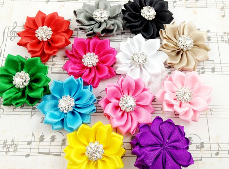 New+4+pcs+Mini+Satin+Ribbon+Flowers++Size+1.5++13+by+Elastichouse,+$5.49