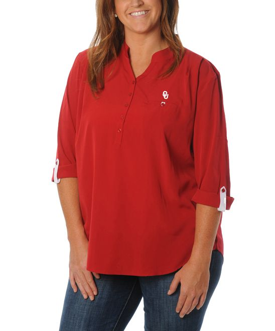 Oklahoma Sooners Button-Front Tunic - Plus