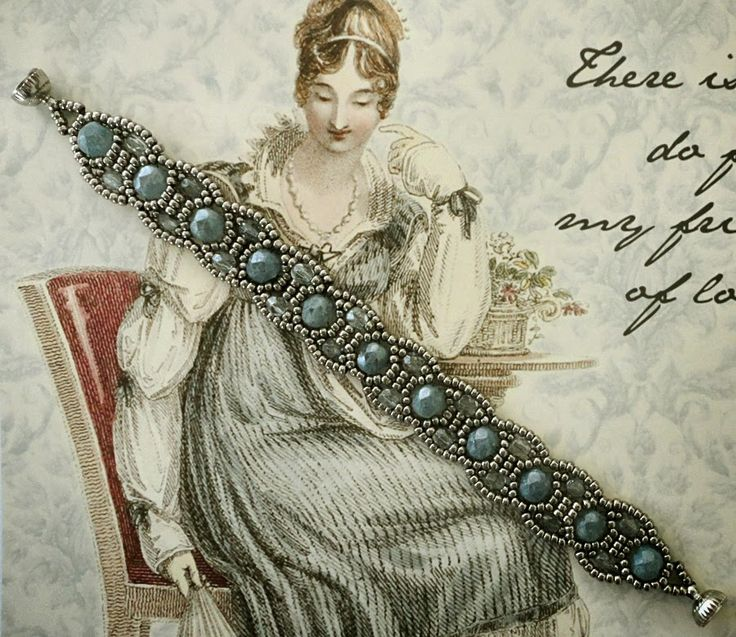 "Linda's Crafty Inspirations: Bracelet of the Day: Canterbury - Stone Blue--11/0 seed beads Miyuki ""Antique Silver-Nickel"" (11-464A) 6mm fire polished beads ""Stone Blue Luster"" 4mm fire polished beads ""Lumi Coated Blue"""
