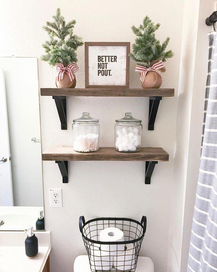 Christmas Decor on the Above Toilet Shelving in Bathroom via @simply_sweet_desig… – bathroom shelves