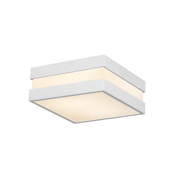Plafon New Quadrus quadrado, interno e externo branco, para 2 lâmpadas,  Medidas: 25x25x11,5cm,  Material: Alumínio e acrílico