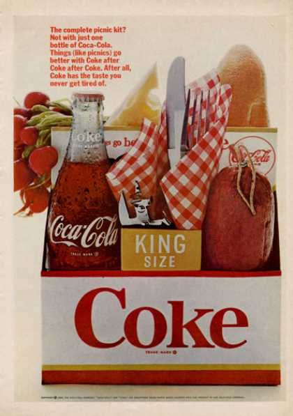 """Coke Coca!~cola 6 Pack Picnic Bottle (1966)  """"King size"""" thought another company came up with this, I was wrong"""