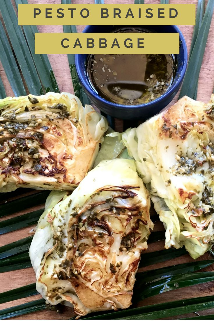 Healthy Pesto Braised Cabbage. A quick and easy veggie dish.