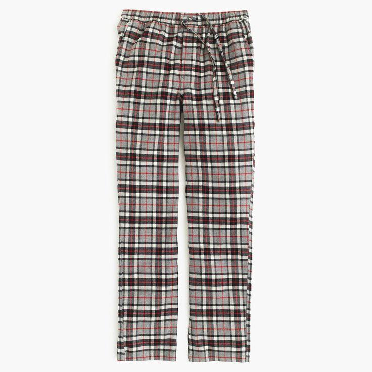 J.Crew Gift Guide: men's flannel pajama pant in grey plaid.