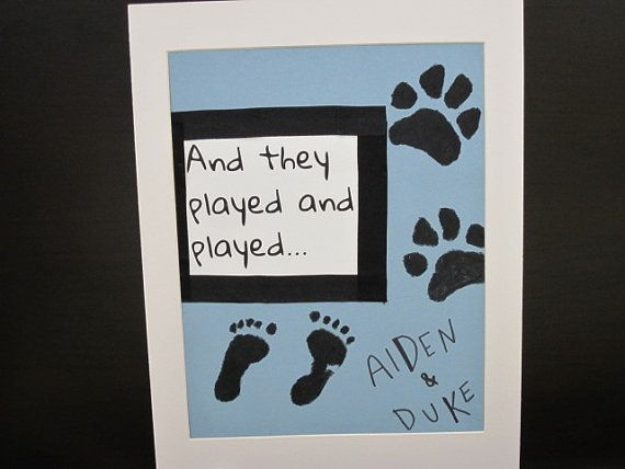 Puppy and Baby Footprints Nursery Wall Art-Gift for a Girl or a Boy-Pet Love on Etsy, $26.50