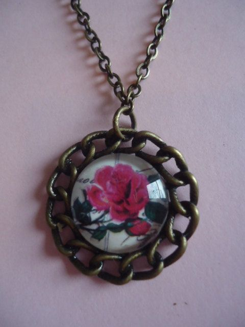 Red Rose Necklace by TallulahStack on Etsy, $8.00