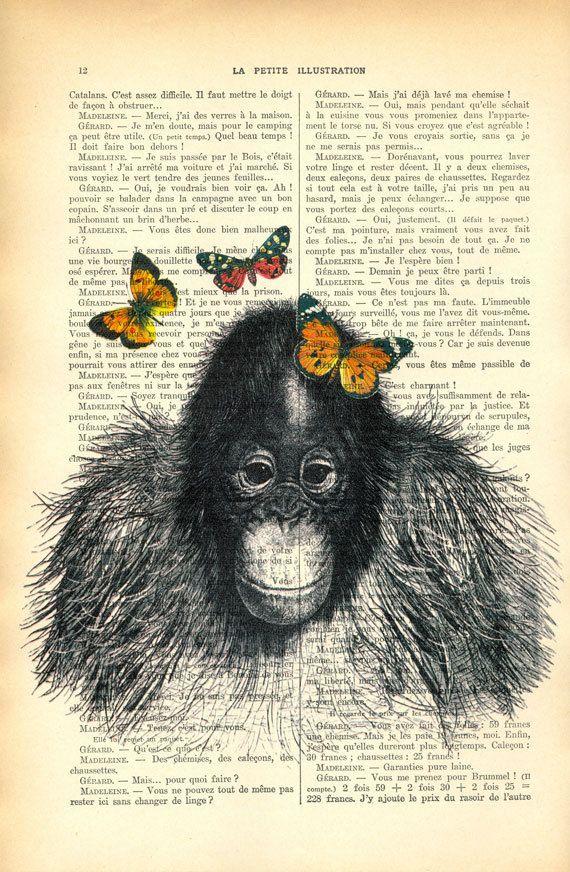 baby aap met oranje vlinders, kleine orang oetan illustratie, originele apen afbeelding    ACTIE Bij aankoop van 2 prints krijg je een 3e print GRATIS!  Leg deze niet in je winkelmandje, anders wordt deze je aangerekend. Laat me je keuze voor de gratis print weten in de notes to MadameMemento box, die verschijnt bij het afrekenen.    Je ontvangt dezelfde afbeelding als op de fotos hierboven. Enkel de achtergrond, de boekpagina, verschilt.    Onthoud dat het kader NIET inbegrepen is.    LINKS…