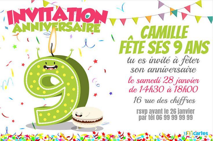 Invitation anniversaire 9 ans chiffres drôles | Invitation anniversaire, Carte anniversaire ...
