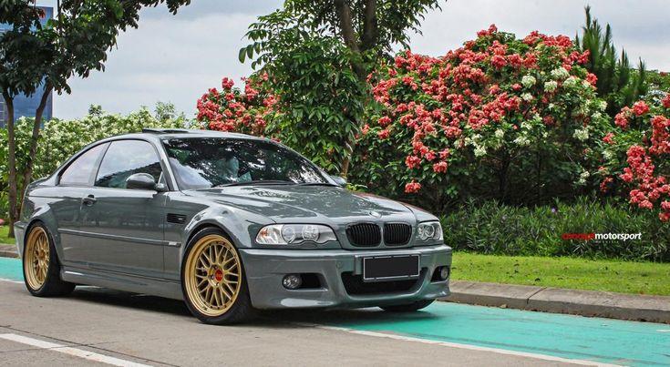styl BMW E46 M3 CSL BBS LM Tuning 4 klasyczny szary BMW E46 M3 na złote koła BBS LM