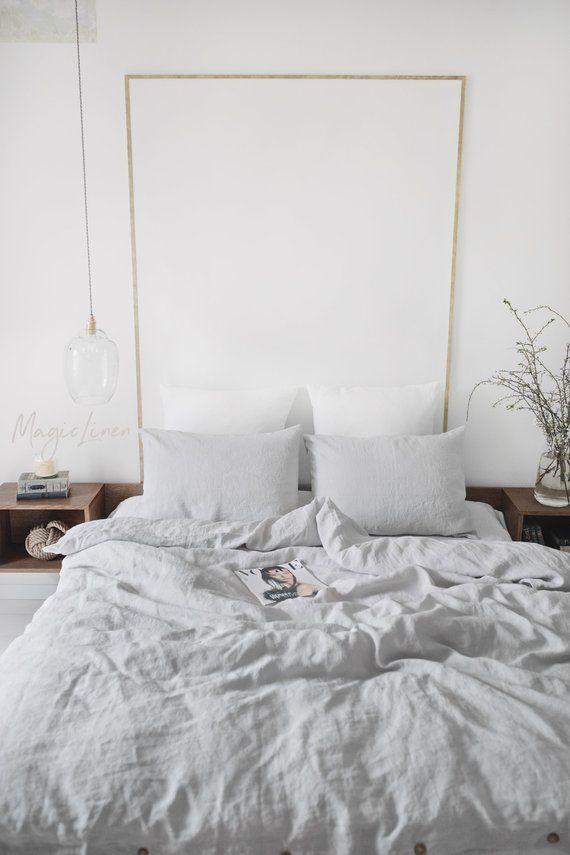Linen Bedding Set In Light Gray King Queen Linen Duvet Etsy In 2021 Bed Linen Sets Bed Linens Luxury Bedding Sets