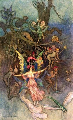 The fairies of Scotland are represented as a diminutive race of beings, of a mixed or rather dubious nature, capricious in their dispositions, and mischievous in their resentment. They inhabit the interior of green hills, chiefly those of a conical form, in Gaelic termed Sighan, on which they lead their dances by moonlight, impressing upon the surface the marks of circles, which sometimes appear yellow and blasted, sometimes of a deep green hue, and within which it is dangerous to sleep.