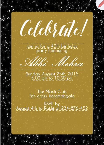 18 best milestone birthday invitations images on pinterest 40th birthday party invitation card filmwisefo