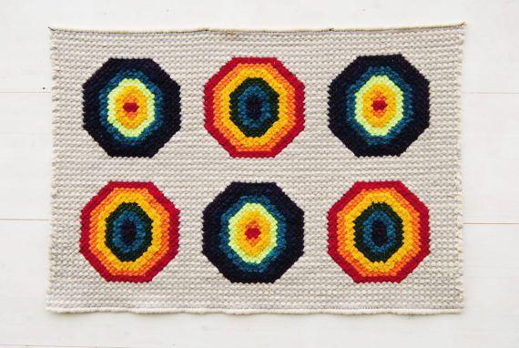 Rainbow rug, Geometric are rug, hand embroidered rug, Kids room carpet, floor runner, Nursery tapestry, Nursery rug, Colorful rug, Girl room