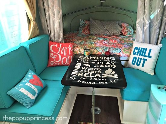 Pop Up Camper Cushions - Use outdoor seating cushions to replace missing camper cushion foam.