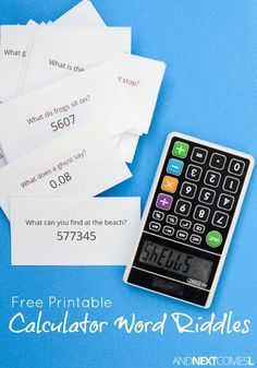 Free printable calculator word riddles for kids - a fun math and literay activity for kids using a calculator from And Next Comes L