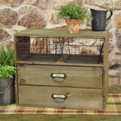 Wooden 2 Drawer Cabinet W Wire Baskets Country Farmhouse KitchenFarmhouse OfficeVintage