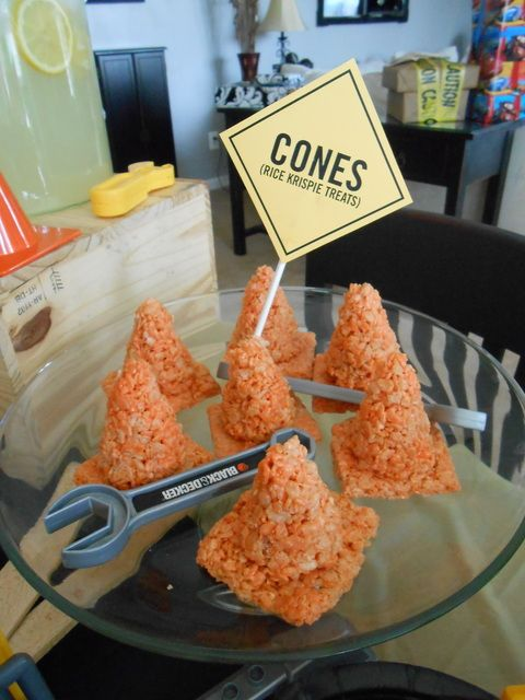 Orange cones at a Construction Party #construction #partyfood