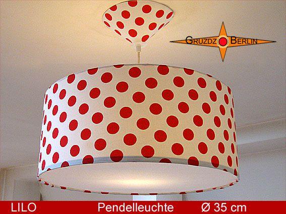 Leuchte LILO Ø 35 cm Pendellampe mit Diffusor und Baldachin mit Punkten. Rote Punkte auf einer weissen Leuchte sind bezaubernd: Die Pendelleuchte LILO mit passendem Baldachin und Diffusor zaubert die Atmoshäre eines breiten Lächelns in den Raum.