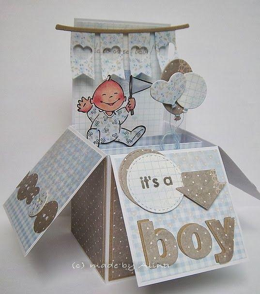 its a boy - Voor wie de cursus 'Kaarten en kado-envelopjes maken' bij Marjolein Zweed Creatief heeft gedaan. Deze babykaart is ook een leuke variant op de doosjes-kaart.