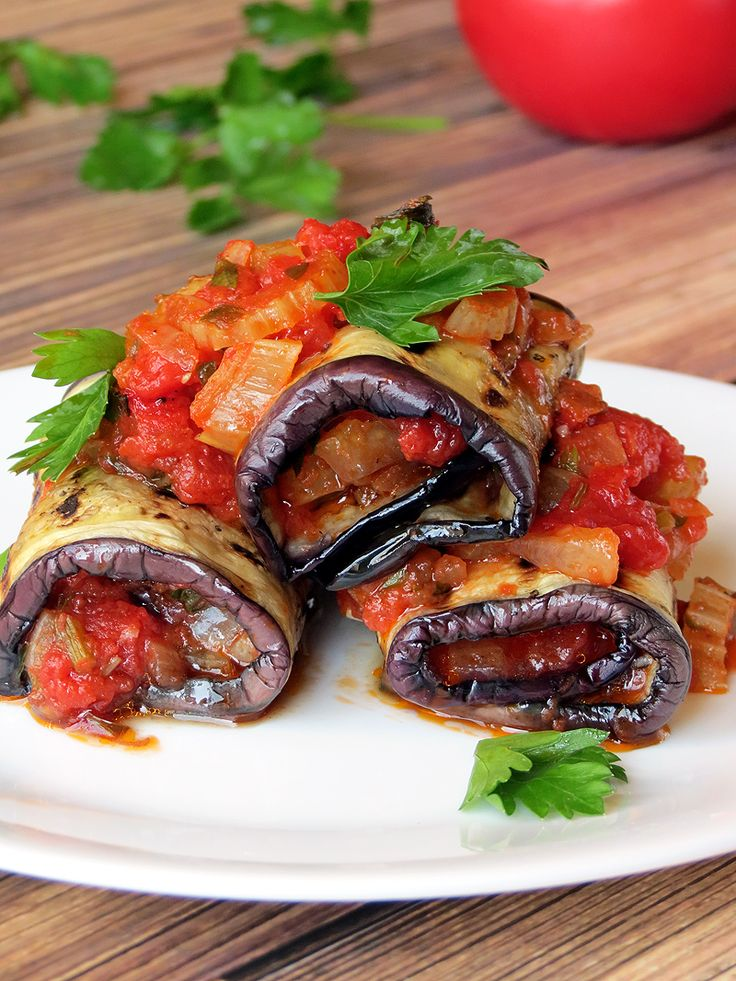 Vegetable Stuffed Eggplant Rollatini   YummyAddiction.com