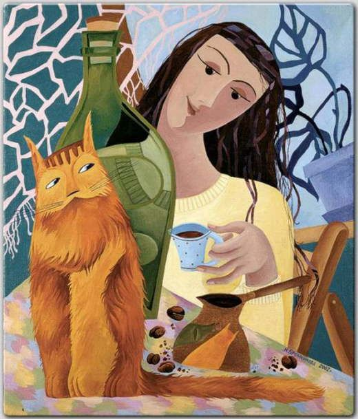 Cat and people paintings. Natalya Bronnikova - Morning Talk.