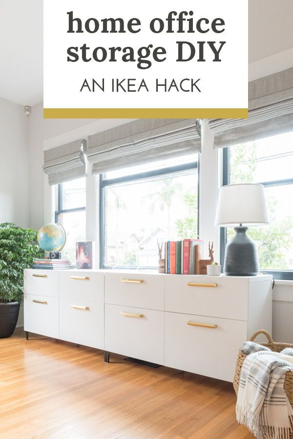 Home Office Storage Unit Diy Using Ikea And Rejuvenation For A Custom Look And Function Ikea Home Office Home Office Design Home Office