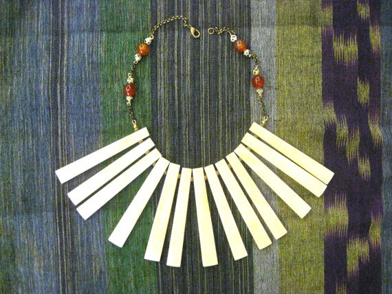 Stunning Reworked Vintage Bone Nagaland Necklace