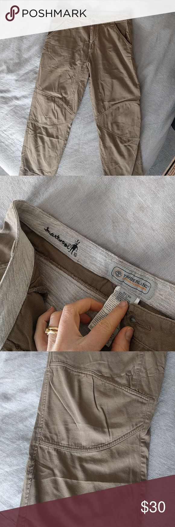 32 x 32 gray Timberland trousers with Smartwool Excellent used condition gray trousers with Smartwool, these Timberland 32 x 32s are a great choice for chillier seasons. Made from canvas-like material and having details at the knee and seat pockets also helps make them a little something out of the ordinary. Not you average khakis. Timberland Pants Chinos & Khakis