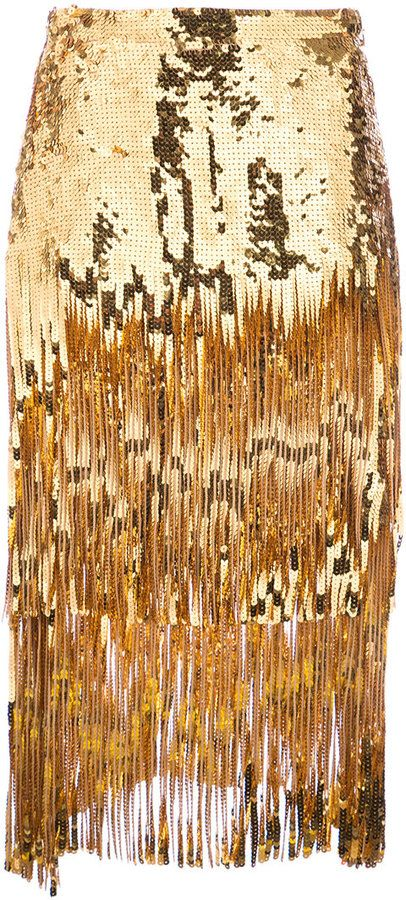 Rochas sequin tassel skirt