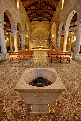 *ISRAEL ~ Church of the Loaves and Fishes, which is located on the north-west shore of the Sea of Galilee in the area where Jesus performed the miraculous feeding of 5,000 people w/a bounty of loaves and fishes.