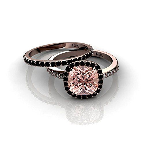 Looking for a black diamond engagement ring?  - #blackdiamondgem Morganite and Black diamond Halo Bridal Set in 10k Rose Gold	by JeenJewels