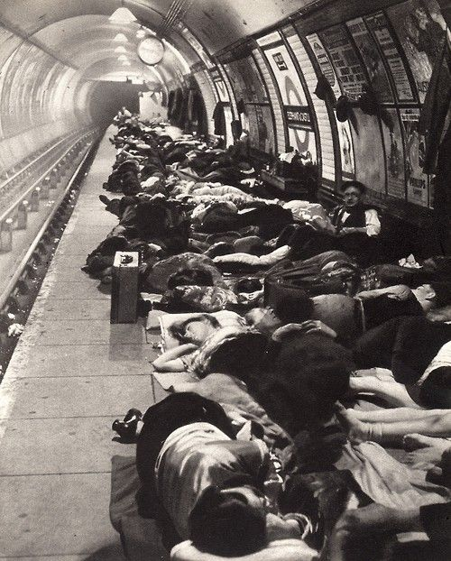 "The Elephant and Castle underground station during the ""Blitz"" (7 September 1940-10 May 1941).  Photograph by Bill Brandt."