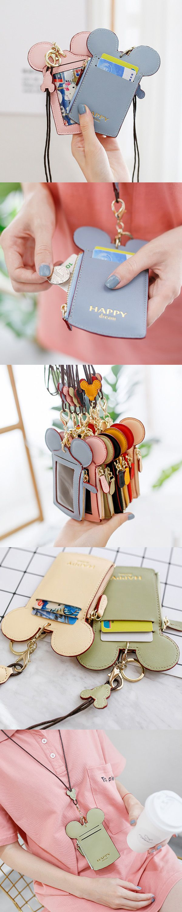 US$8.99   Women Cute Animal Shap Card Holder Wallet Purse Neck Bag