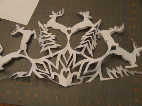 Reindeer snowflake template