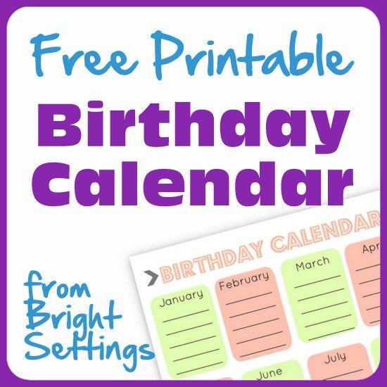 57 best printableu0027s images on Pinterest Ideas, DIY and Organization - birthday calendar template