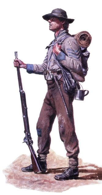 Confederate Soldier, (artist unknown). Help eliminate poor pinning! If you know the artist and can supply a link, please update this pin. Thank you!