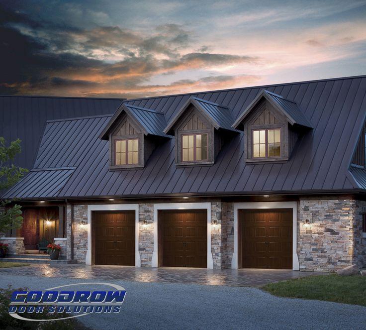 Three car garage with steel short panel doors featuring realistic wood grain pattern. We replace & 35 best Boston Area Garage Door Ideas images on Pinterest | Boston ...