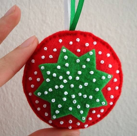 Christmas Felt Craft Ideas Part - 20: Items Similar To Holiday Star Christmas Tree Felt Ornaments - White Green  Red - Felt Handmade Christmas Ornament - Christmas Decoration - Noel Decor  On Etsy