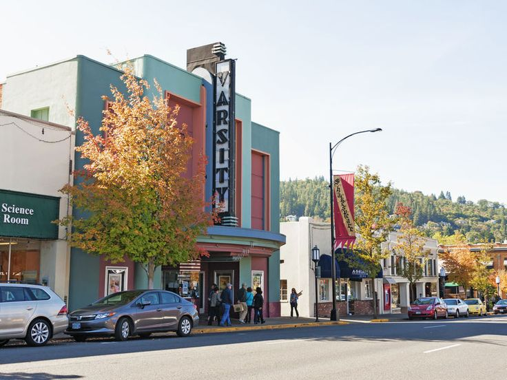 Ashland Ashland, Oregon road outdoor sky building street Town neighbourhood City urban area scene way human settlement Downtown plaza residential area infrastructure facade shopping mall cityscape sign
