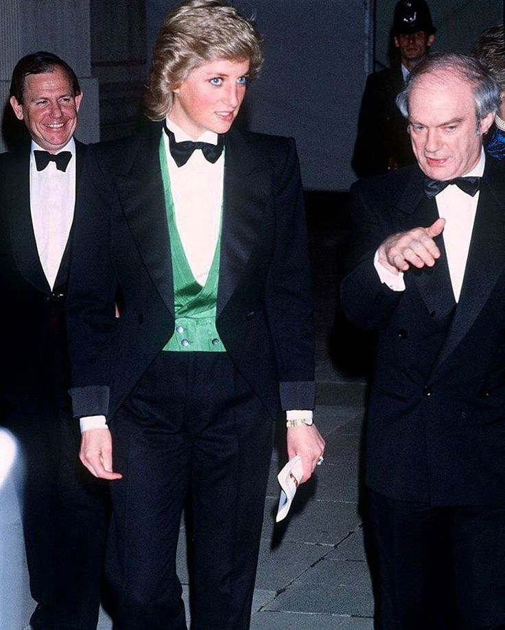 22 April 1988: Princess Diana attends a greyhound racing event sponsored by the White City Greyhound Charity at Wembley Stadium, wearing a tuxedo.
