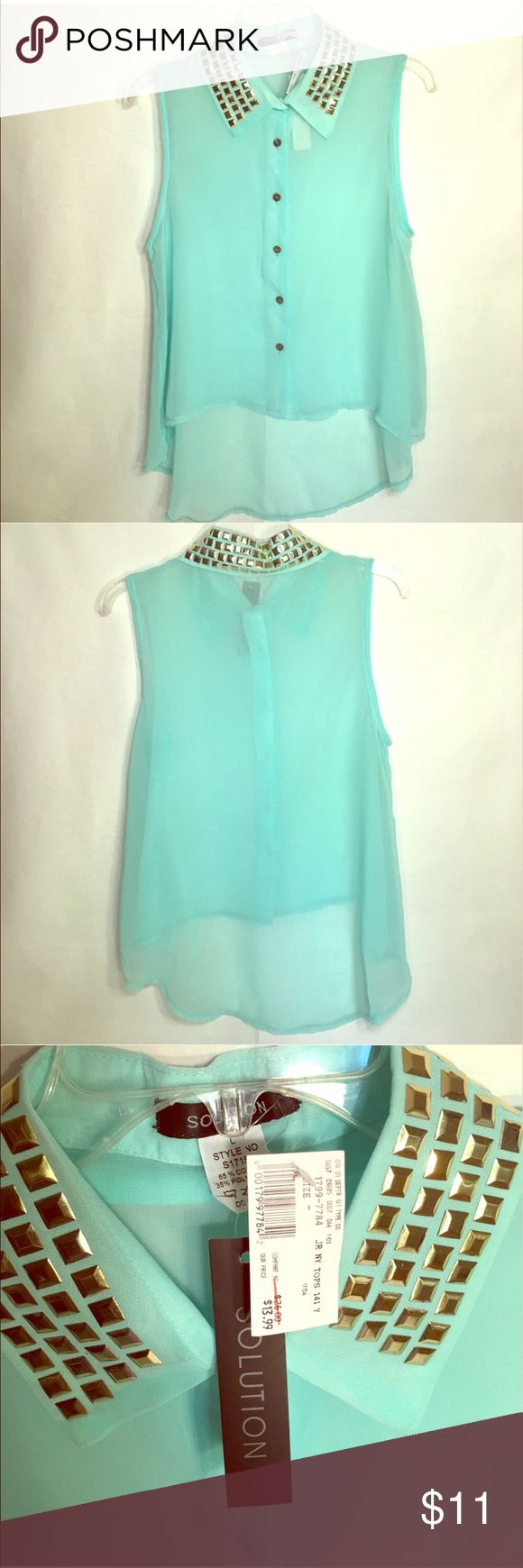 Teal gold studded collar button down high low top Beautiful Teal & gold studded collar button down high low sleeveless sheer top Solution Tops Button Down Shirts
