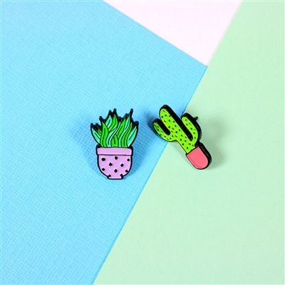 Lilac and Pink Cactus Duo Enamel Pins from Punky Pins. #punkypins #pingame #cactus