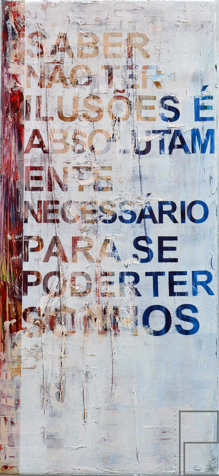 """Painting """"Fernando Pessoa #2"""" by Paulo Crafter Mixed media, stencil,  oil and acrylic on canvas . 45x90 cm"""
