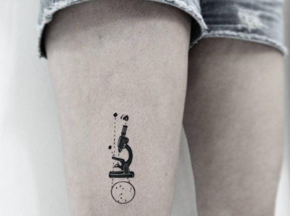 Microscope tattoo by Jonas Lima